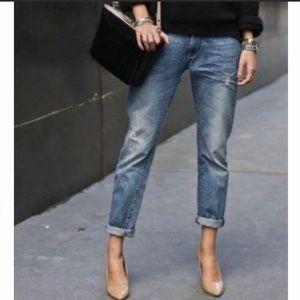Lucky Brand Leyla Capri Distressed Raw Hem Jeans